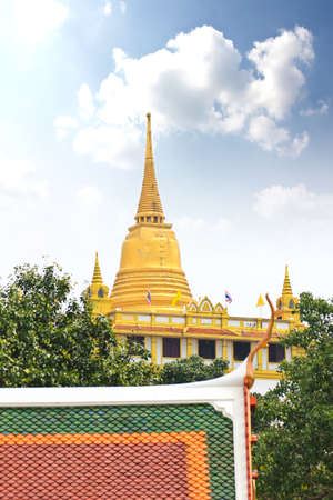 Golden mountain, an ancient pagoda at Wat Saket temple in Bangkok, Thailand