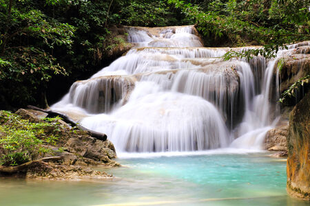 Beautiful Waterfall at Erawan National Park in Kanchanaburi ,Thailand. photo
