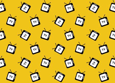 Retro tv web icon. Seamless pattern. Vector background. Illustration