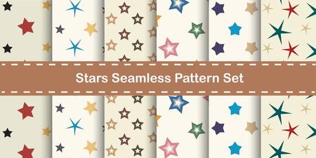 Stars seamless pattern. Vector set. Vector