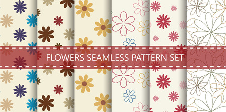 Flowers seamless pattern set. Vector