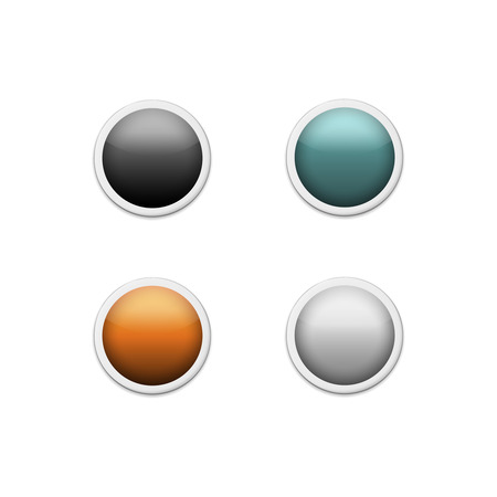 blue button: Set of colored round buttons
