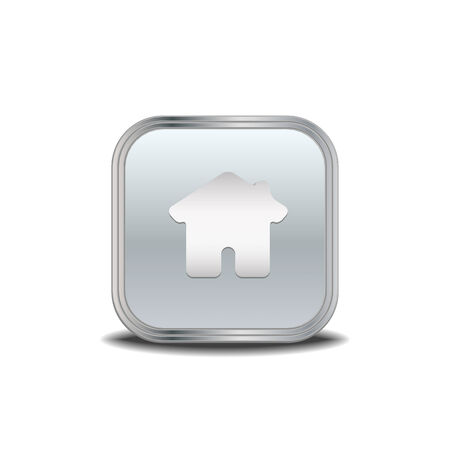 white house: Home icon ,vector metal button Illustration