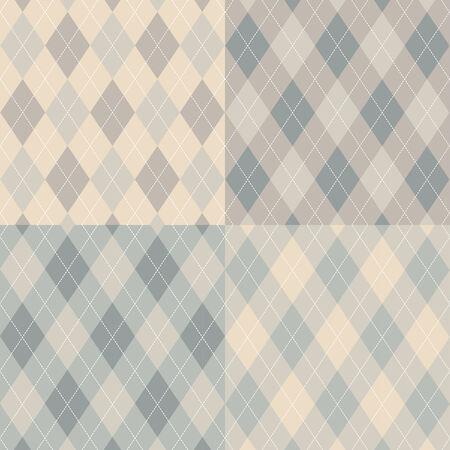Seamless argyle pattern. Diamond shapes background. Vector set. Vector