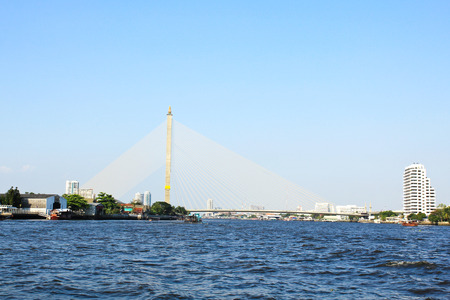 viii: The Rama VIII bridge over the Chao Praya river in Bangkok, Thailand.