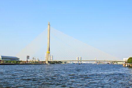praya: The Rama VIII bridge over the Chao Praya river in Bangkok, Thailand.