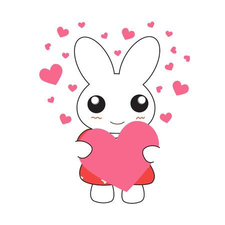 bunny girl: Cute cartoon bunny girl in a pretty pink dress with hearts. Vector illustration.