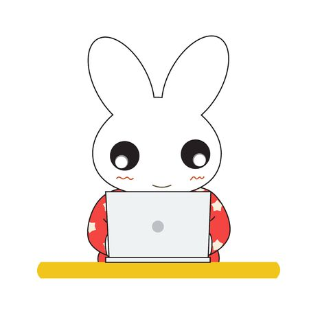 Cute cartoon bunny girl in a pretty pink dress. Vector illustration.