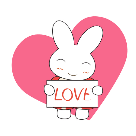 pink dress: Cute cartoon bunny girl in a pretty pink dress with heart. Vector illustration.