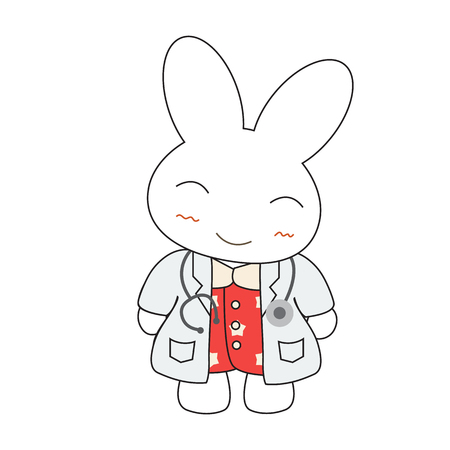 Cute cartoon bunny girl in a doctor suite. Vector illustration.