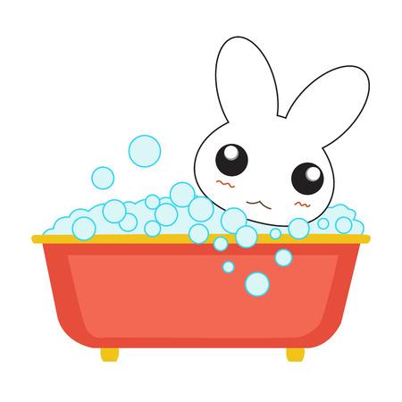 young girl bath: Cute cartoon bunny girl in a bath. Vector illustration.