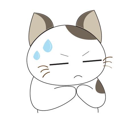 grey cat: Cute cat character Illustration