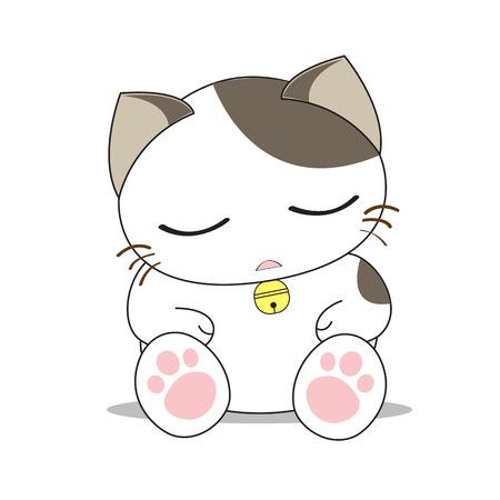 smile cartoon: Cute cat character Illustration
