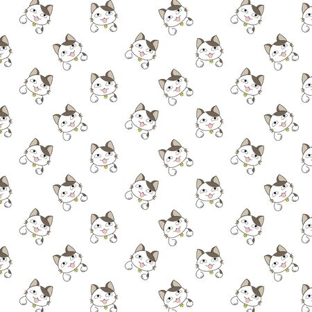 baby background: Cute Cartoon Cats Pattern. Illustration