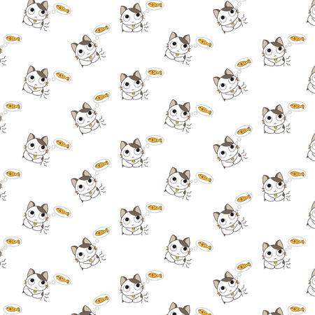 Cute Cartoon Cats Pattern. Illustration