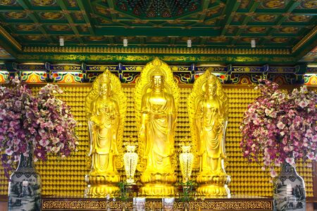 buddhist temple: Golden buddha statue in Chinese temple in Thailand