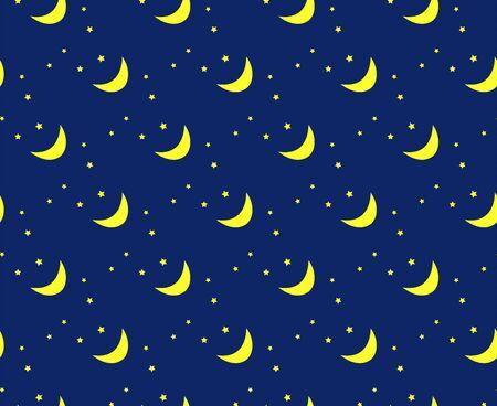 Vector night sky pattern, moon and stars Illustration