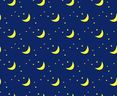 twinkles: Vector night sky pattern, moon and stars Illustration
