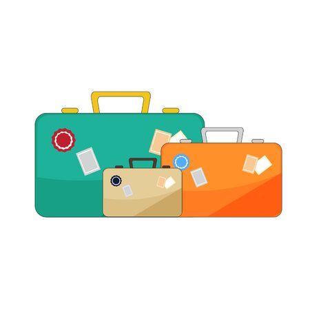 old suitcase: Vector luggage illustration on white background. Illustration
