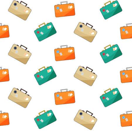 Vector luggage pattern on white background. Illustration