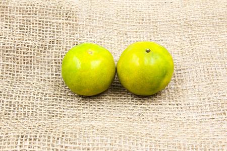 Fresh green tangerine Stock Photo