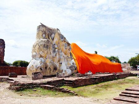 Reclining Buddha of Wat Lokaya Sutha in Ayutthaya, Thailand. Stock Photo
