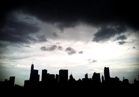 dark city: Silhouette of Bangkok City ,Thailand.