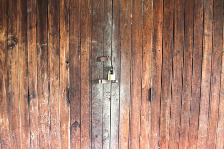 Vintage wooden door, old building style in Thailand.Background, Texture