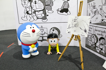 displayed: BANGKOK - DECEMBER 03, 2015 : Photo of Doraemon and friends mascot replica ,displayed at Central West Gate to celebrate his 45th comic anniversary, Doraemon Comic World.