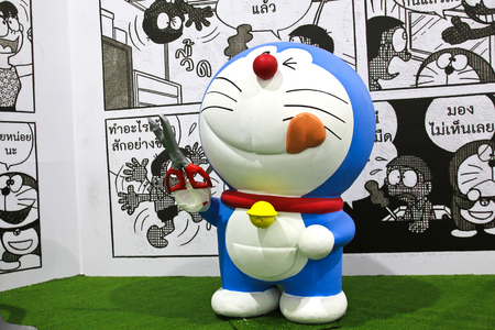 west gate: BANGKOK - DECEMBER 03, 2015 : Photo of Doraemon mascot replica ,displayed at Central West Gate to celebrate his 45th comic anniversary, Doraemon Comic World.