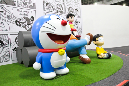 replica: BANGKOK - DECEMBER 03, 2015 : Photo of Doraemon and friends mascot replica ,displayed at Central West Gate to celebrate his 45th comic anniversary, Doraemon Comic World.