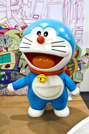 displayed: BANGKOK - DECEMBER 03, 2015 : Photo of Doraemon mascot replica ,displayed at Central West Gate to celebrate his 45th comic anniversary, Doraemon Comic World.
