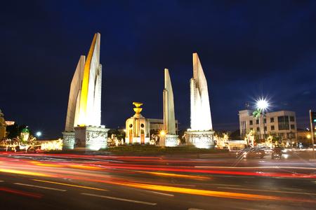 democracy Monument: Democracy monument at night, Bangkok, Thailand.