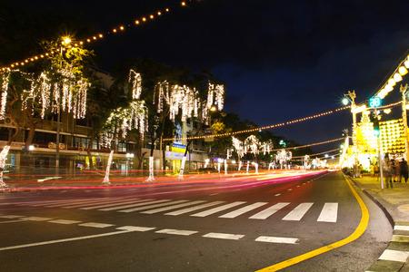 adulyadej: BANGKOK - DECEMBER 7: Decoration on Rachadamnoen road for the celebration of the 88th birthday of HM King Bhumibol Adulyadej on December 7, 2015 in Bangkok, Thailand.