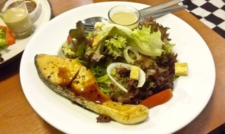 Grill salmon salad Stock Photo