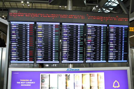 BANGKOK - FEBRUARY 17 : Departure information monitor at Suvanaphumi Airport on February 17, 2016. Suvarnabhumi airport is worlds 4th largest single-building airport terminal. Editorial