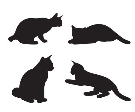 Set di sagome di gatti isolato su uno sfondo bianco.