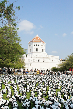 BANGKOK,THAILAND - MARCH 13, 2016 : 1600 Pandas+ TH, Paper mache Pandas to represent 1,600 Pandas and to raise awareness in conservation and sustainable development for endangered animals in Thailand.