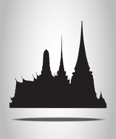 wat: Thai Temple Silhouettes on the white background
