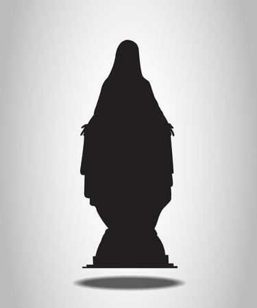 Maagdelijke Mary Statue silhouetten op de witte achtergrond