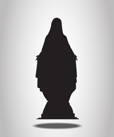 Virgin Mary Statue Silhouettes on the white background