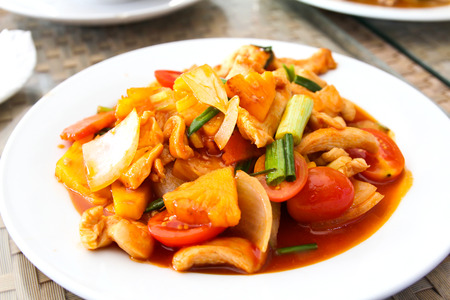 Sweet and sour chicken on a plate