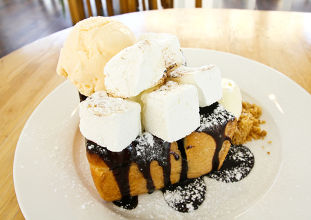 Chocolate Honey Toast with Ice Cream and Marshmallow