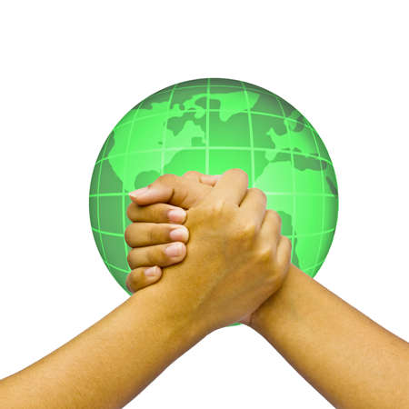 Concept Hands over globe.