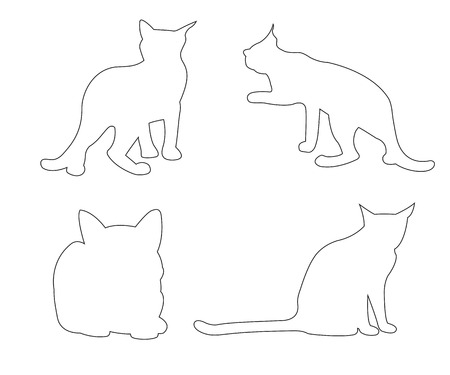 small group of animal: Vector paths of Cats set on the white background Illustration