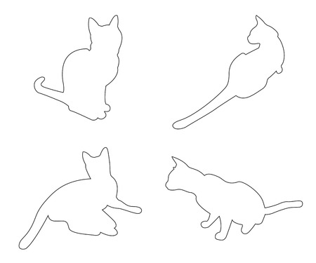 kitten small white: Vector paths of Cats set on the white background Illustration