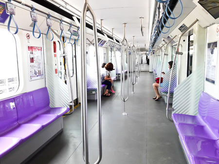 Bangkok-Thailand Oct 1 2016: MRT Chalong Ratchadham Line or MRT Purple Line. Skytrain extension from Tao-Poon to Khlong-Bang-Phai, to help people in Bangkok and its vicinity travel faster.