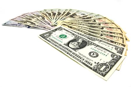 Close up of dollar isolate on white background.