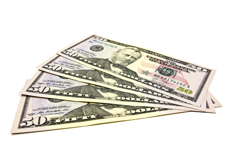 fifty dollar bill: Close up of fifty dollar isolate on white background. Stock Photo