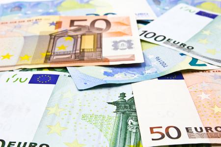 banconote euro: Le banconote in euro, sfondo di denaro Archivio Fotografico